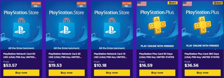 Tarjetas PlayStation Estados Unidos USA